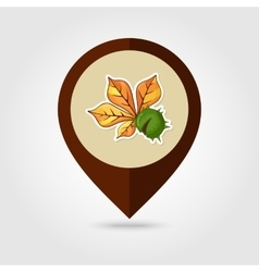 Chestnut with leaf mapping pin icon vector