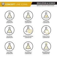 Concept Line Icons Set 12 Chemistry vector image vector image