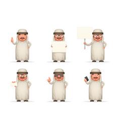 Cute arab businessman man 3d realistic cartoon vector