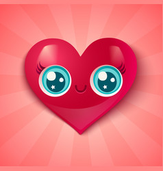 cute heart in kawaii style vector image