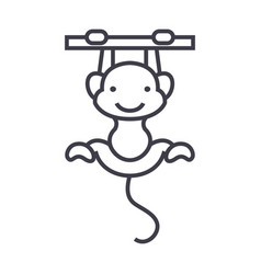 cute monkey line icon sign vector image