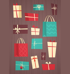 different gift boxes collection presents package vector image