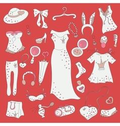 Fashion hand drawn doodle set vector