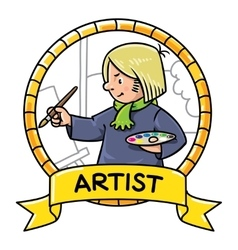 Funny artist or painter profession abc series vector