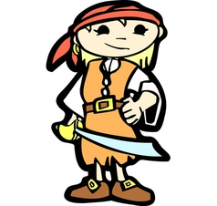 Girl in pirate costume vector