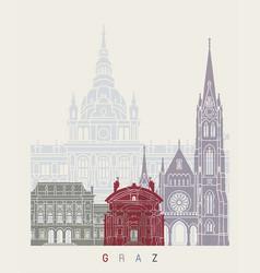 Graz skyline poster vector