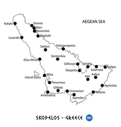 Island of skopelos in greece map on white vector