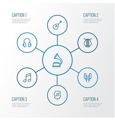 Music outline icons set collection of earphones vector