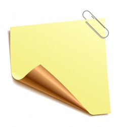 note with paper-clip vector image