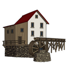 Old stone watermill vector