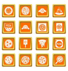 pizza icons set orange vector image