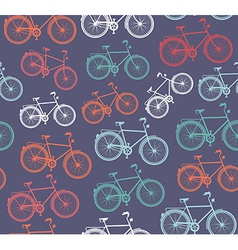 Retro hipster bicycle seamless pattern vector