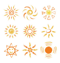 Set of hand drawn chalk suns vector