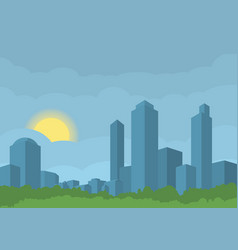 Silhouette of blue modern city with green park vector