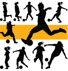 soccer women silhouette girl play soccer vector image vector image