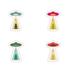 Stylish concept paper sticker christmas tree ufo vector