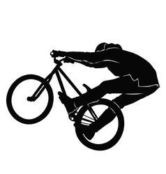 Teenager riding a bicycle in black and white vector image