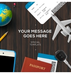 Travelers desktop travel and vacations concept vector image vector image