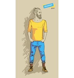 Ukrainian man in fashion vector image