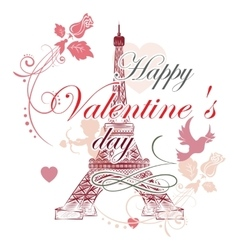 Valentines day Eiffel tower vector image vector image