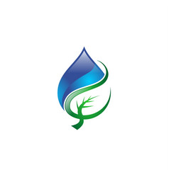 Water drop leaf logo vector