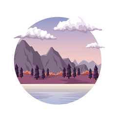 White background with dawn landscape in round vector