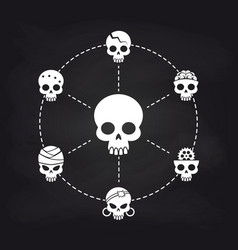 white skull icons concept on chalkboard vector image