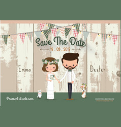 Couple rustic wedding invitation card vector