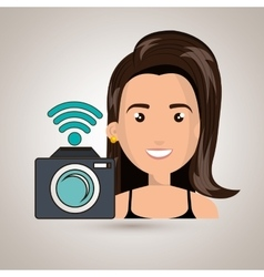 Woman camera photography wifi vector