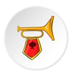 Trumpet with flag icon cartoon style vector