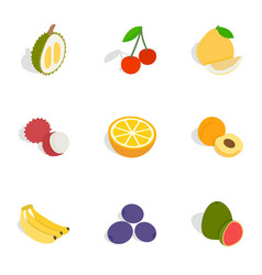 Fruits icons isometric 3d style vector