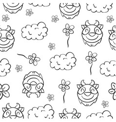 Doodle goat and cloud funny for kid vector