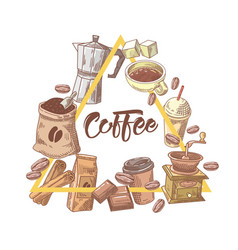 Coffee hand drawn design with cup sugar vector
