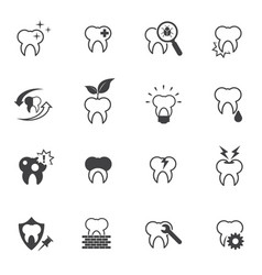tooth teeth and dental icons set vector image