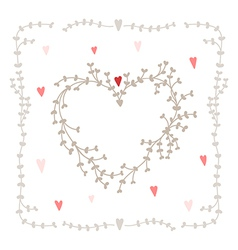 Hand drawn set heart shaped wreath heart vector