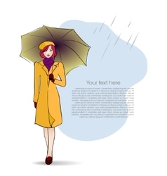 Lady with umbrella on autumn background vector