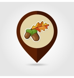 Acorn with leaf mapping pin icon vector