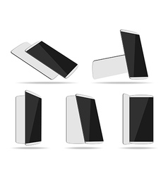 White smartphones face with back different vector