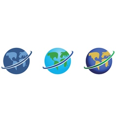 global network icons set vector image