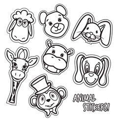 animal stickers2 resize vector image vector image