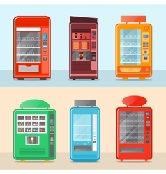 Automatic vending machine set in flat design vector image
