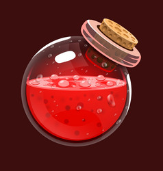 bottle of blood game icon of magic elixir vector image