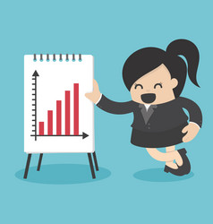 Business woman present graph vector