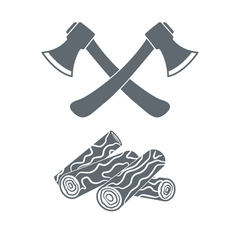 Camp ax and firewood icon vector