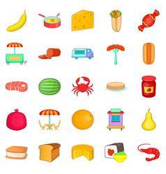 Canteen icons set cartoon style vector