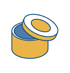 Carton box in circle shape icon vector
