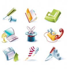 cartoon style icon set vector image vector image