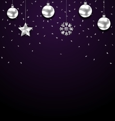 Christmas dark background with silver baubles vector