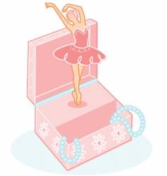 cute ballerina jewelry box illustration vector image vector image