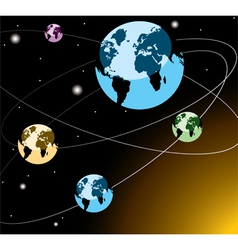 earths on orbits vector image